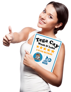 Woman-thumbs-up-oil-change-Tega-Cay-Wash-&-Lube-South-Carolina-Near-Fort-Mill